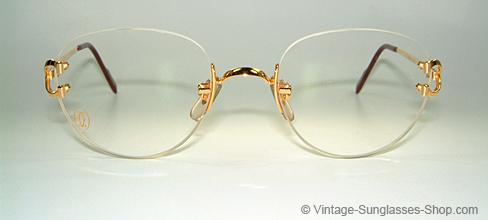 b65a007ec9 Cartier Rimless Sunglasses Black Lens Gold Frame