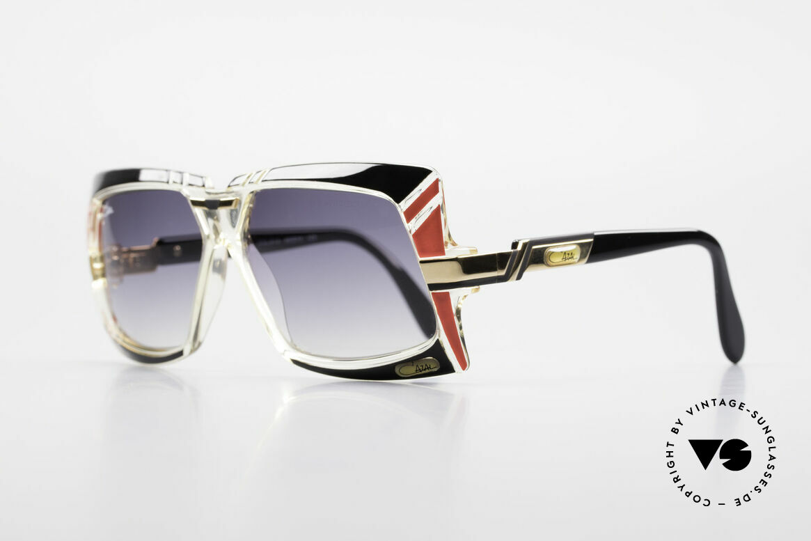 Cazal 869 Old 80's West Germany Shades, orig. color name 610: black + red / crystal / gold, Made for Men and Women