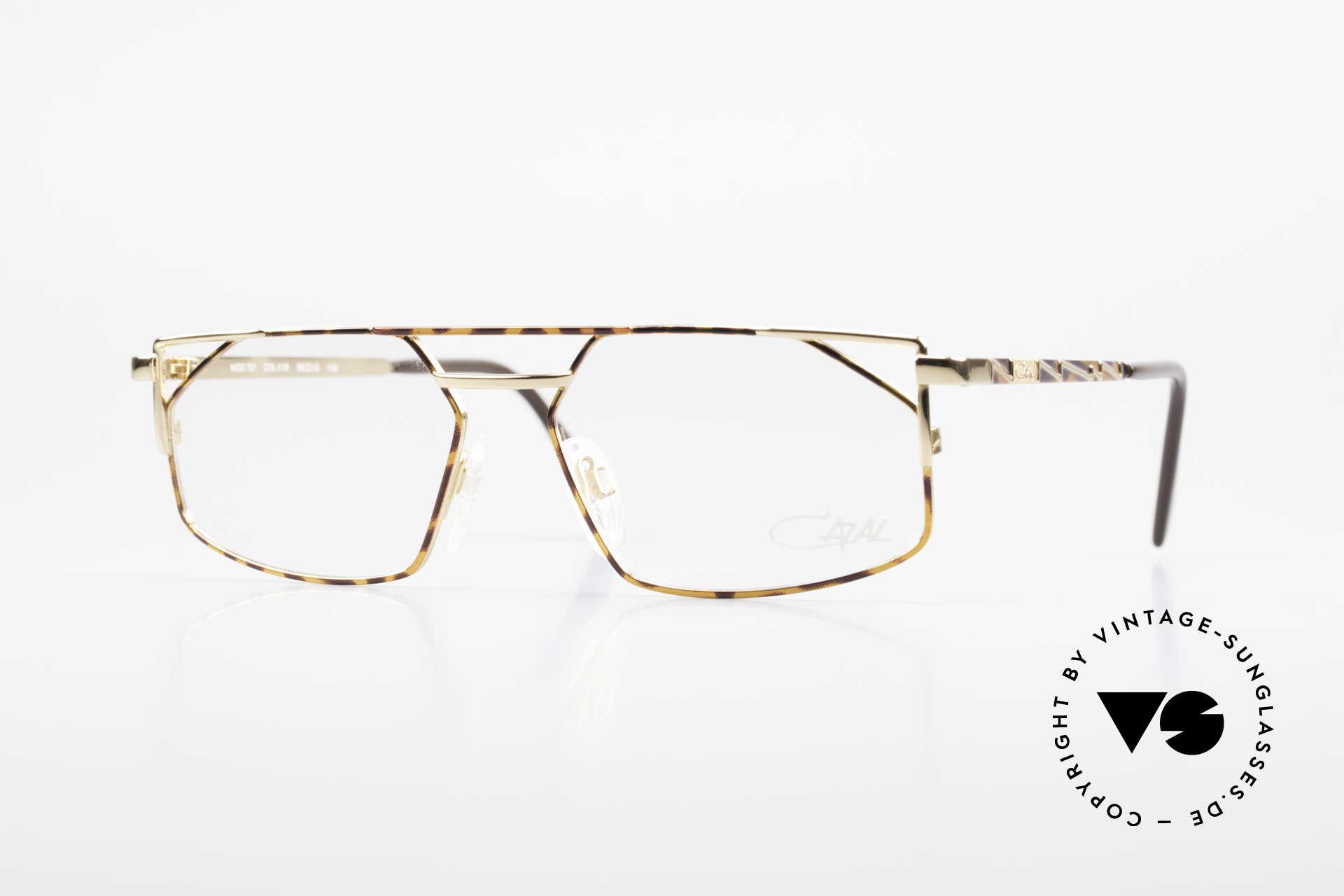 Cazal 751 90's Designer Eyeglasses, angled metal designer frame with high-grade finish, Made for Men