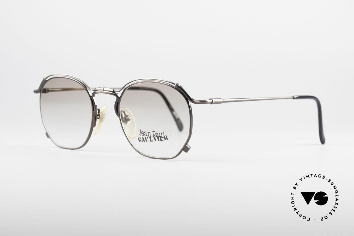 Jean Paul Gaultier 55-2171 90's Vintage JPG Frame, anthracite finish & light-brown tinted sun lenses, Made for Men and Women