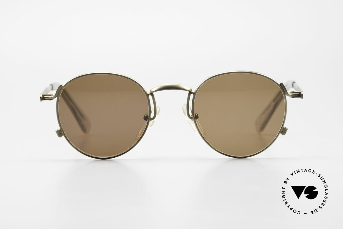 Jean Paul Gaultier 57-1171 90's JPG Designer Sunglasses, unique glossy frame finish (gray-brown metallic), Made for Men and Women