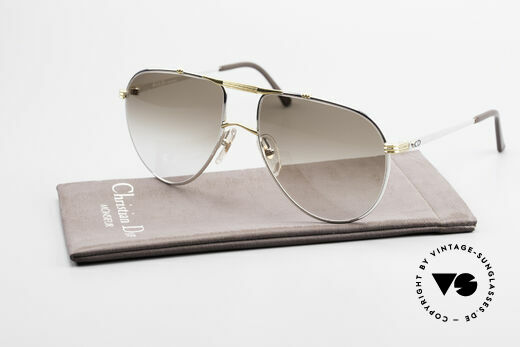 Christian Dior 2248 Large 80's Aviator Sunglasses, brown-gradient CR39 sun lenses (100% UV protection), Made for Men
