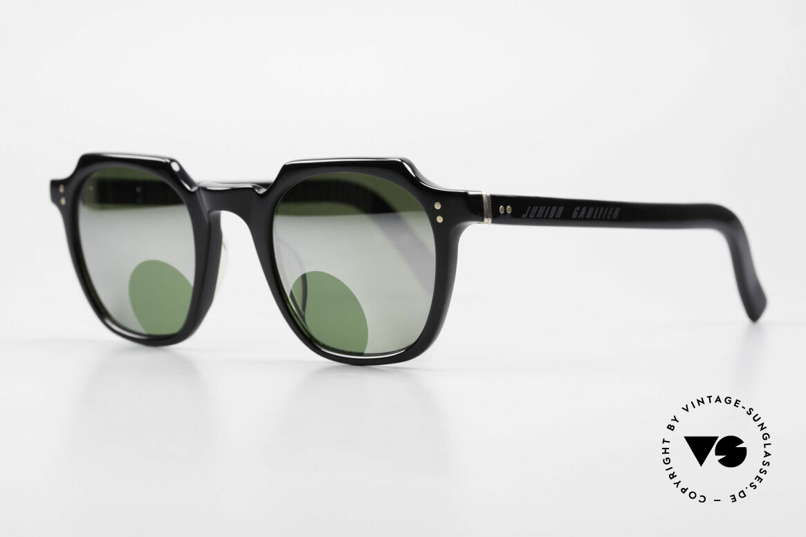 Jean Paul Gaultier 58-0071 Mirrored Lenses With Peephole, massive black frame & gold hinges (high-end quality), Made for Men and Women