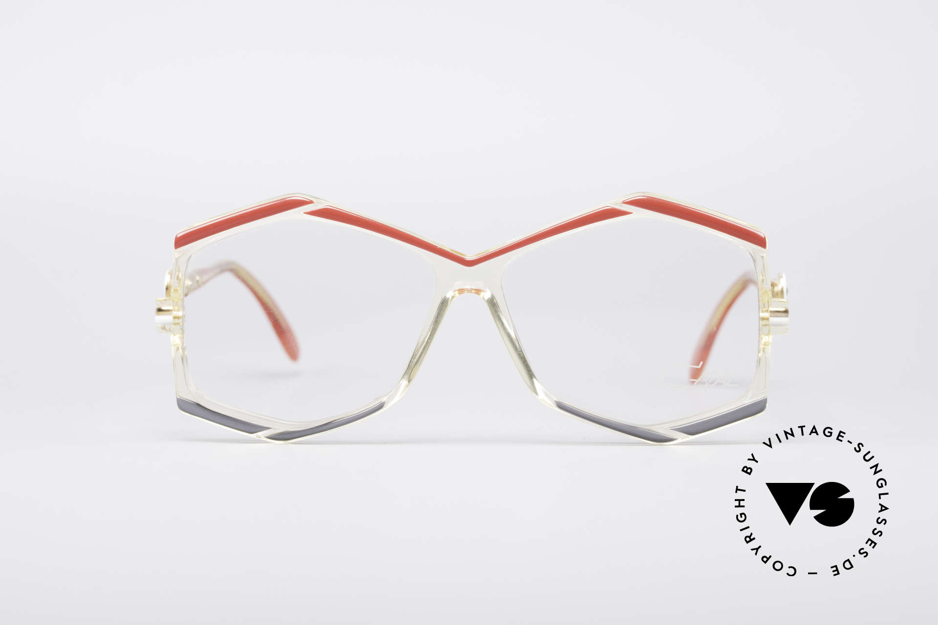 Cazal 180 80's Designer Glasses, crystal clear frame with great colors; just unique!, Made for Women