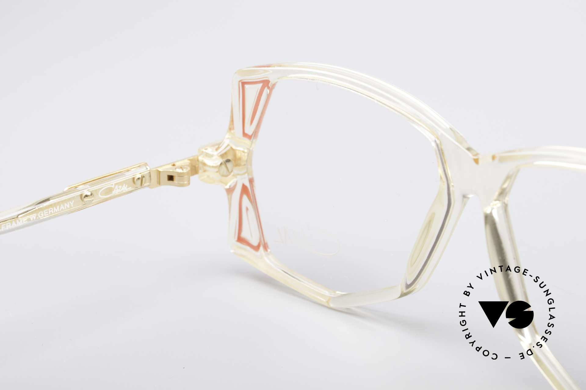 Cazal 172 Crystal Clear 80's Frame, the frame (small size 55/12) can be glazed optionally, Made for Women