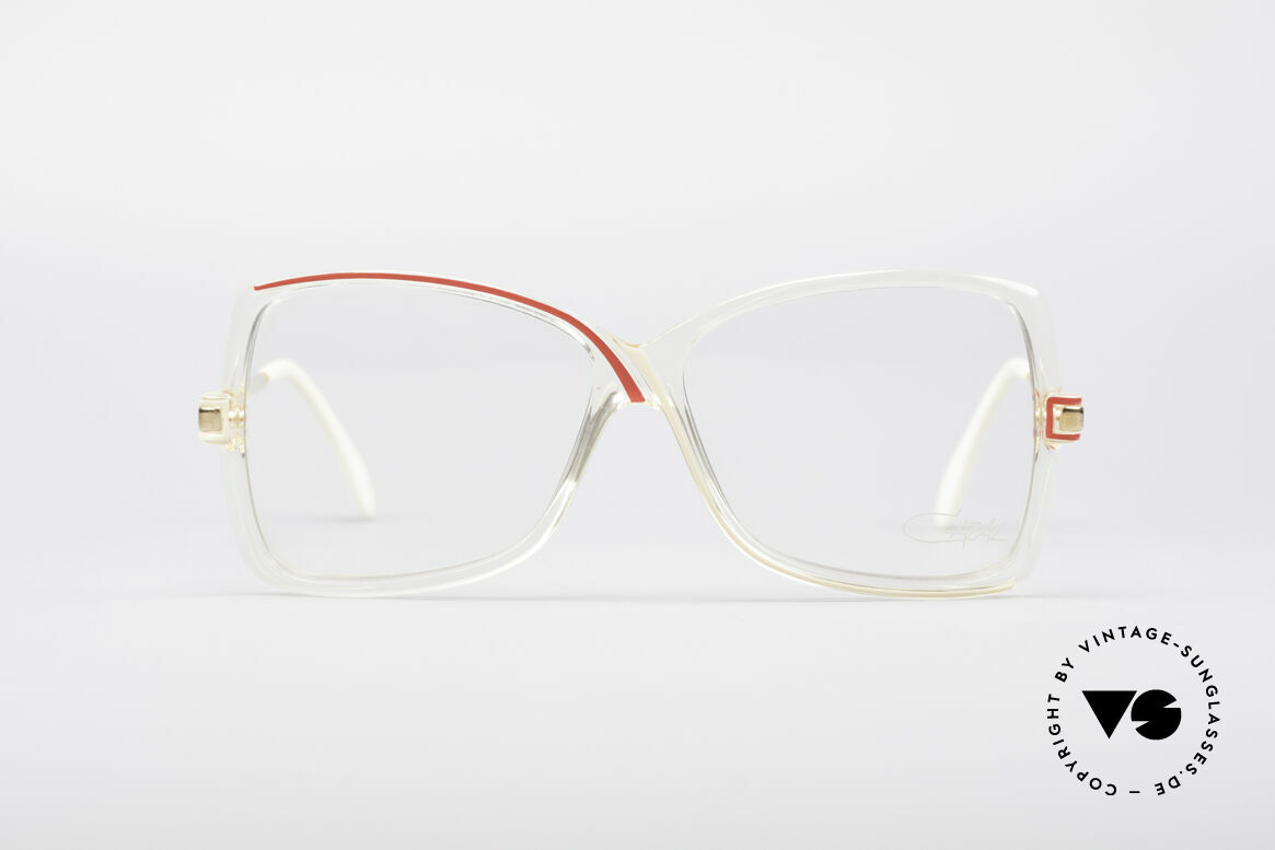 Cazal 175 True Vintage 80's Frame, crystal-clear plastic frame with swinging lines, Made for Women