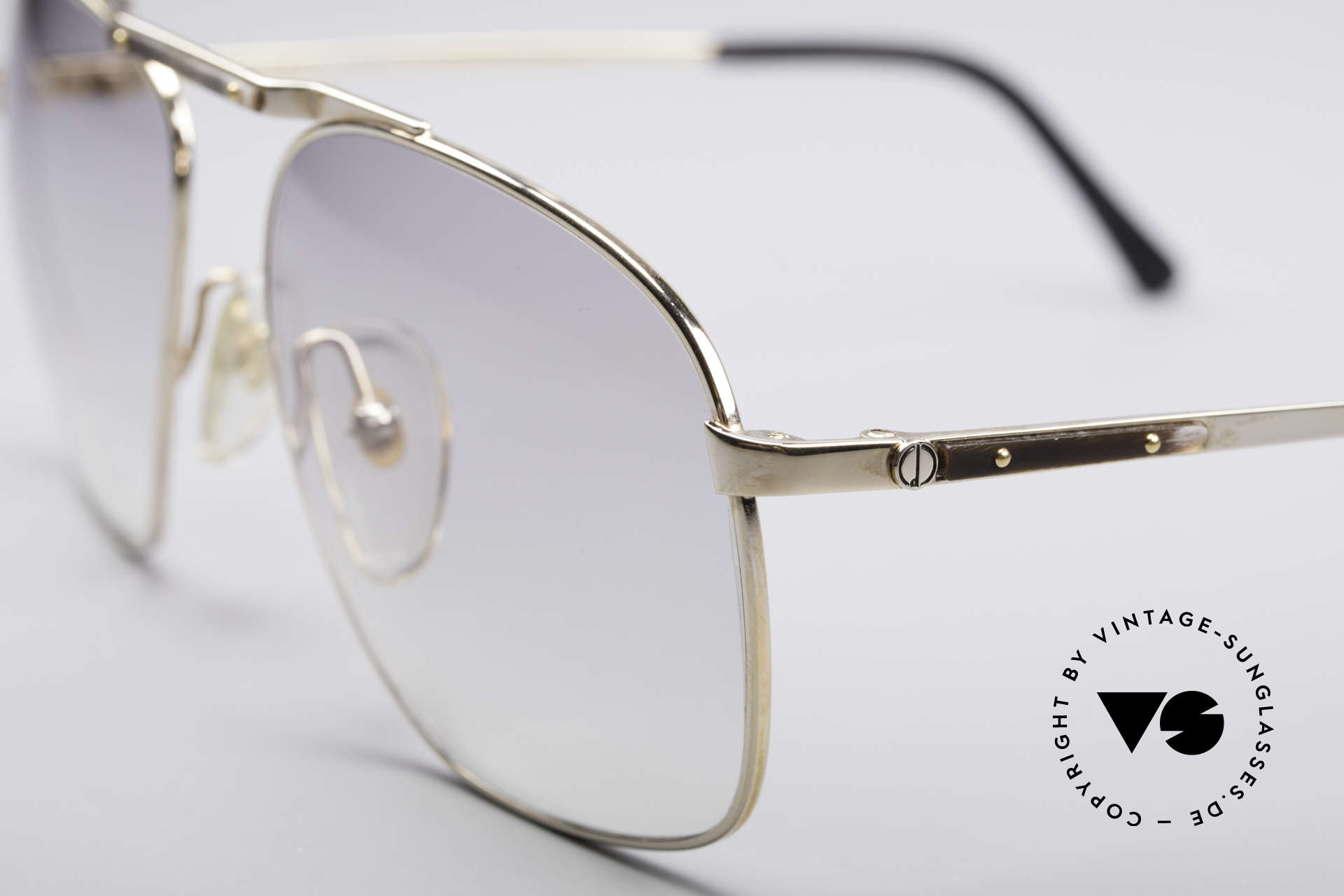 Dunhill 6046 80's Frame With Horn Appliqué, light tinted gray-gradient lenses; 100% UV protection, Made for Men