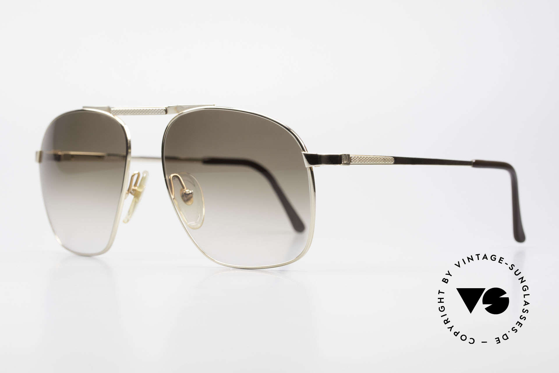 Dunhill 6046 Old 80's Aviator Luxury Glasses, gold-plated metal frame with brown gradient lenses, Made for Men
