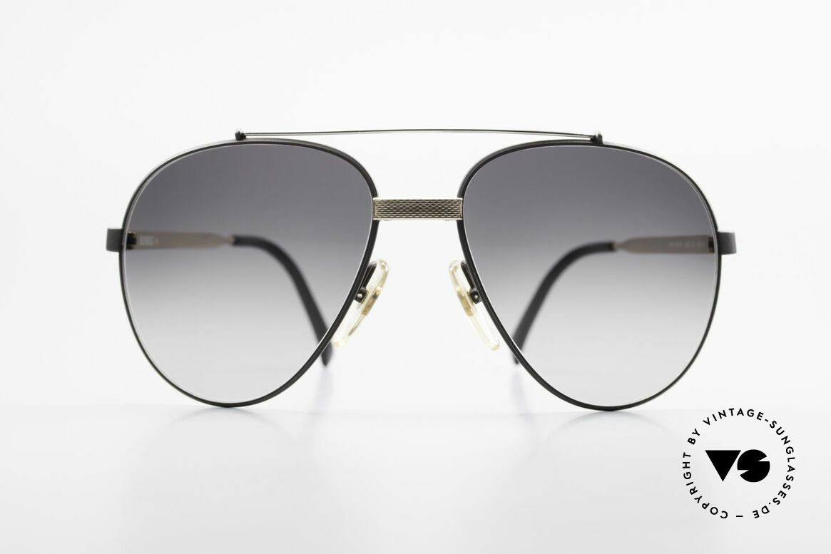 Dunhill 6023 80's Luxury Sunglasses Aviator, black chrome-plated & gold-plated components, Made for Men