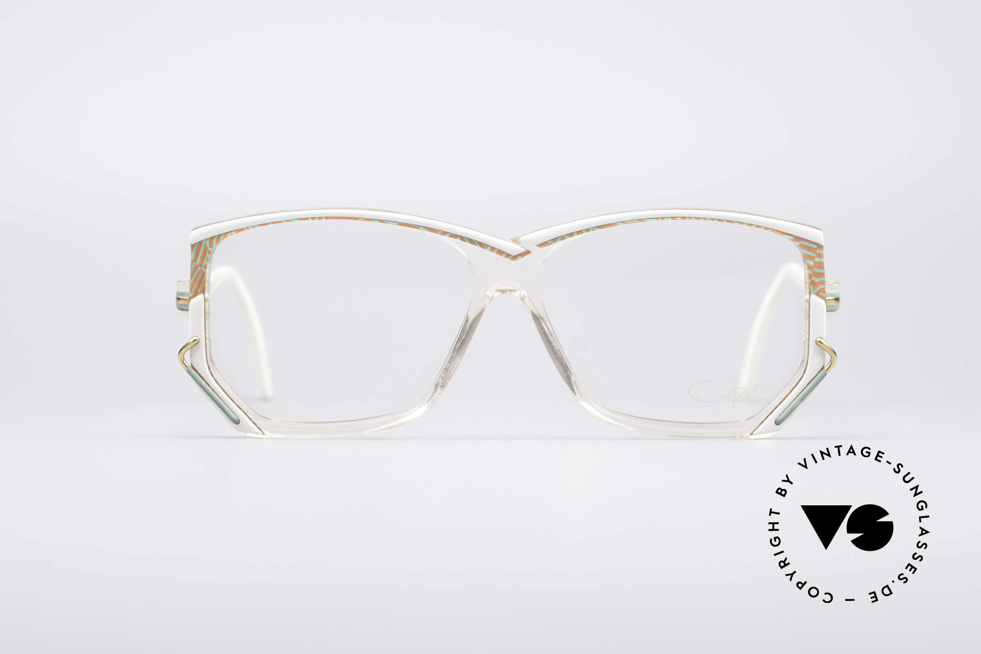 Cazal 197 80's Designer Glasses, crystal clear frame with a brilliant color composition, Made for Women