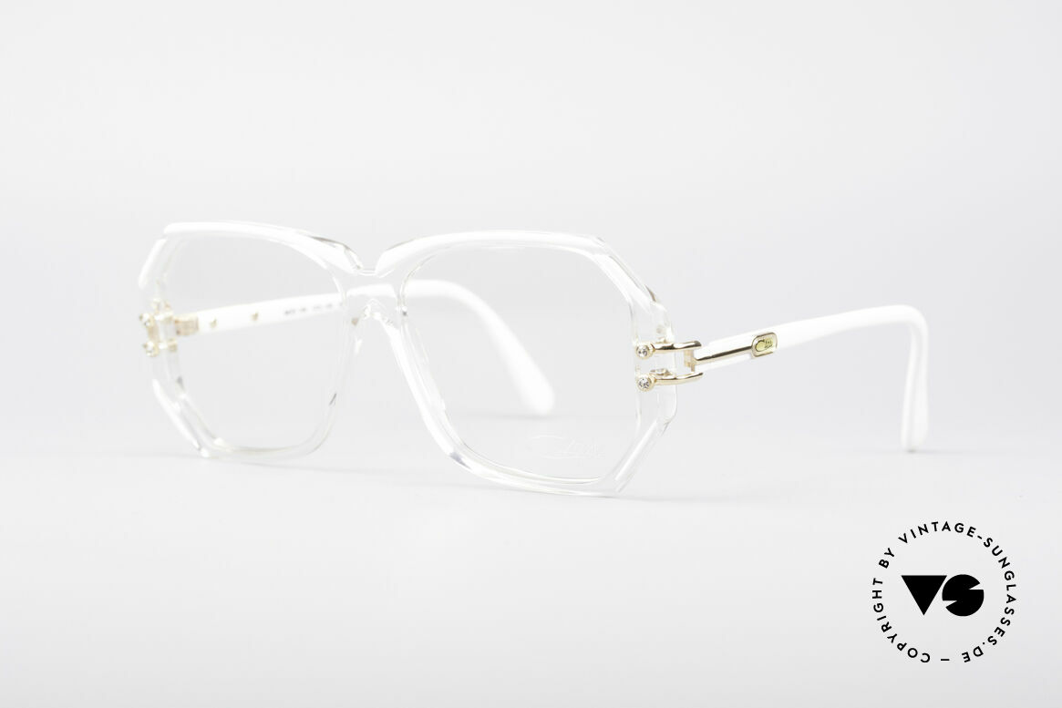 Cazal 169 Small Designer Frame, crystal clear frame with white rims; SMALL size !!, Made for Women