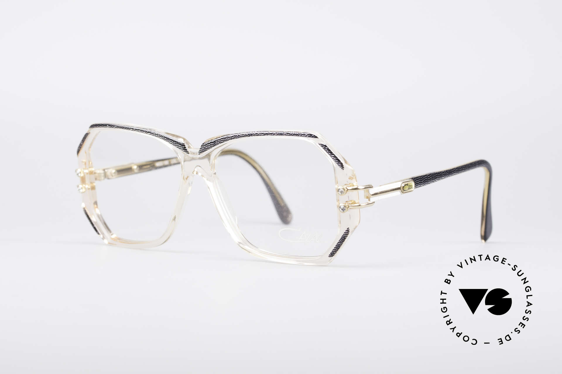 Cazal 169 Small Designer Frame, crystal clear frame with anthracite rims; SMALL size, Made for Women