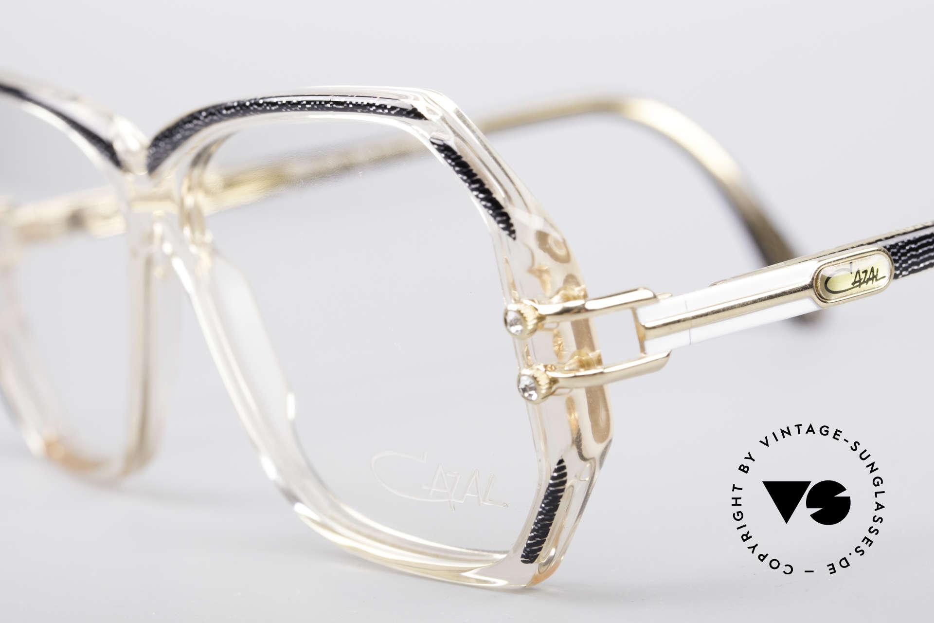Cazal 169 Small Designer Frame, with some tiny rhinestones as ornamental screws, Made for Women