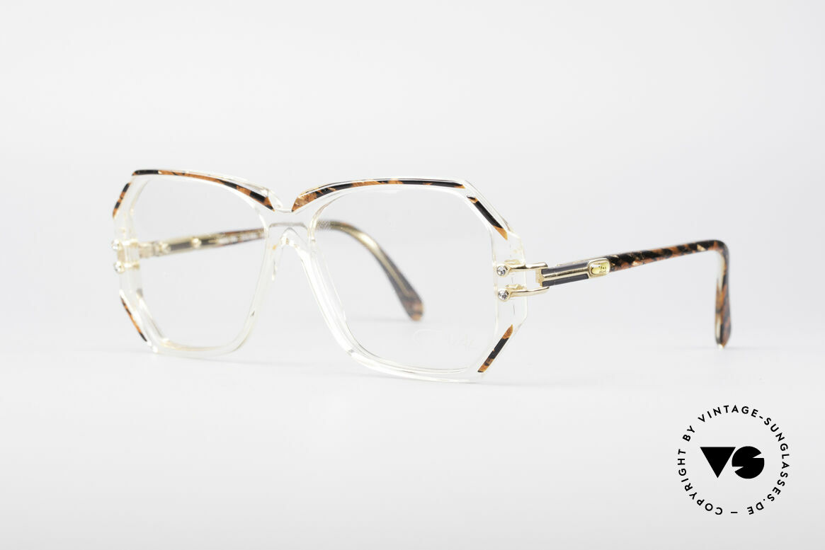 Cazal 169 Vintage Designer Frame, crystal clear frame with root-wood coloured rims, Made for Women