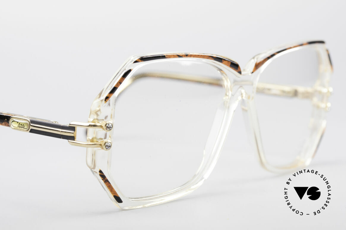 Cazal 169 Vintage Designer Frame, with some tiny rhinestones as ornamental screws, Made for Women