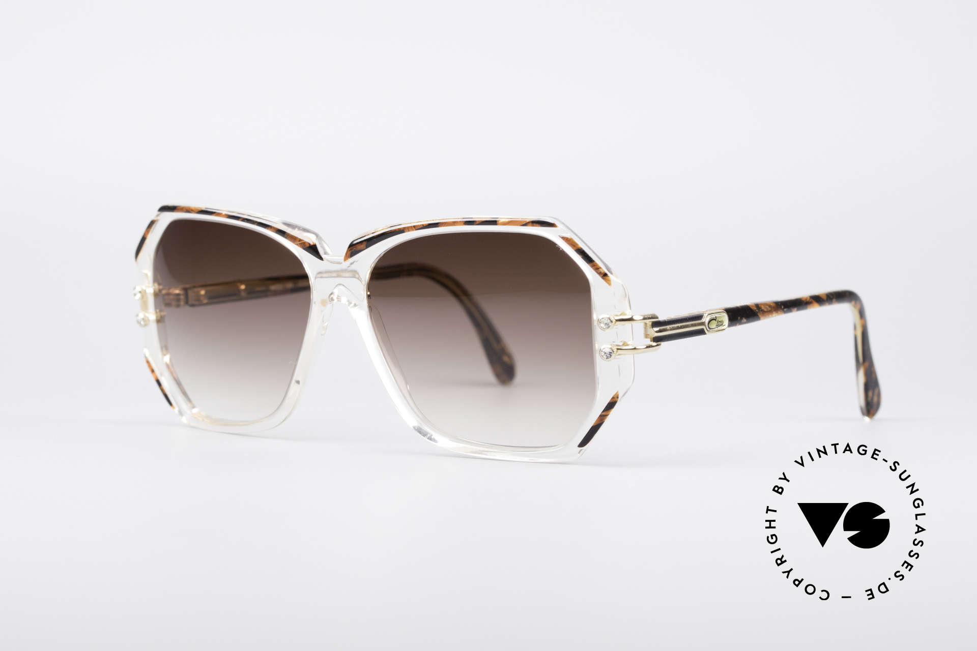 Cazal 169 Vintage Designer Shades, crystal clear frame with root-wood coloured rims, Made for Women