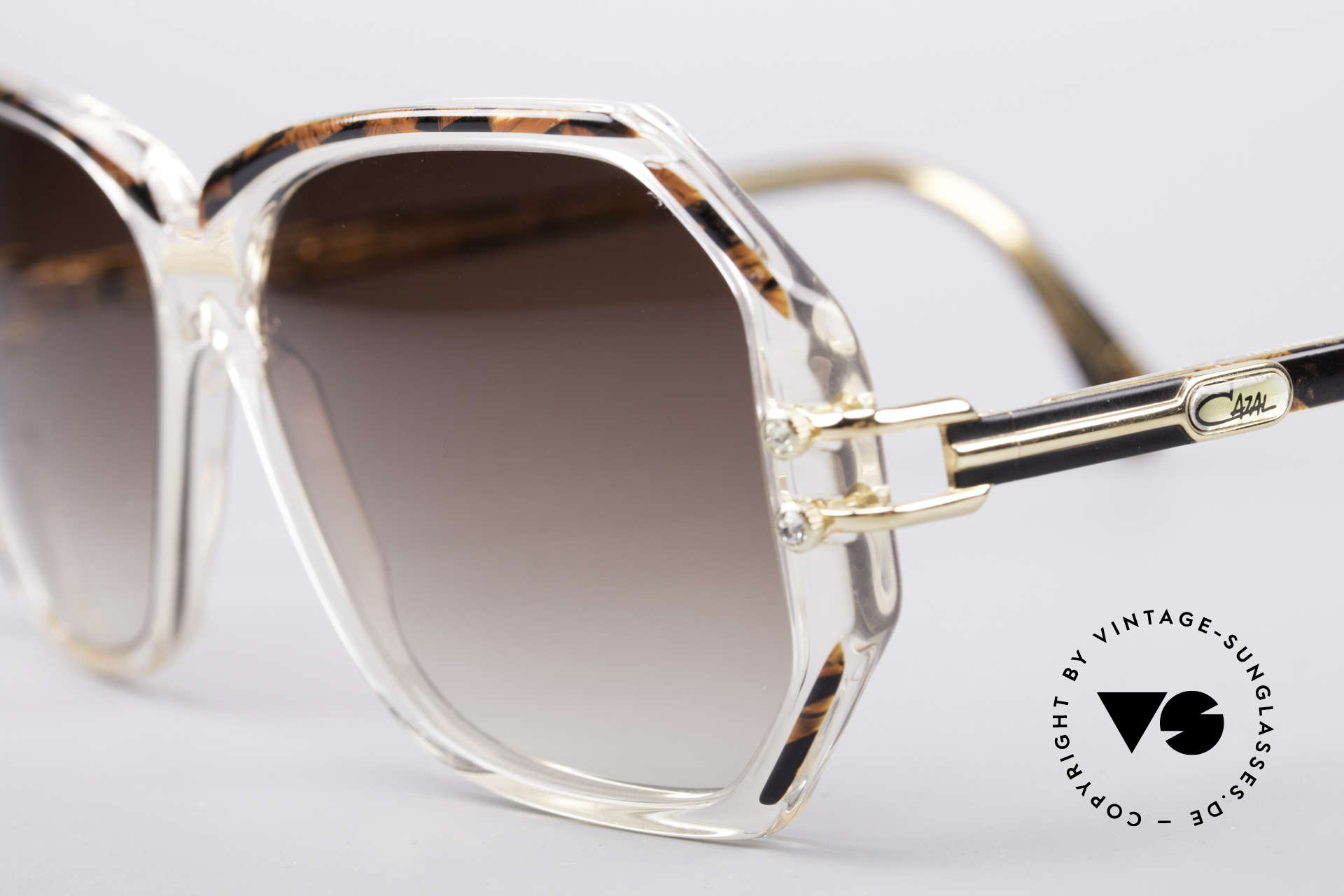 Cazal 169 Vintage Designer Shades, with some tiny rhinestones as ornamental screws, Made for Women