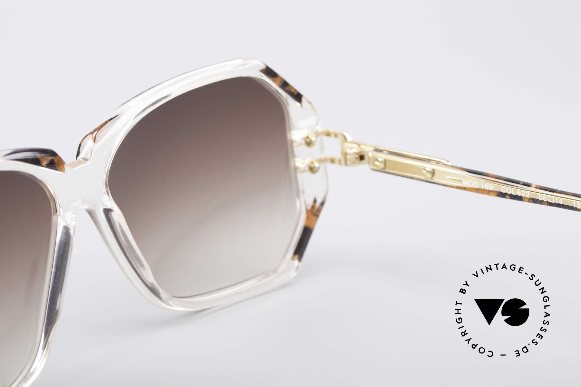 Cazal 169 Vintage Designer Shades, brown-gradient sun lenses for 100% UV protection, Made for Women