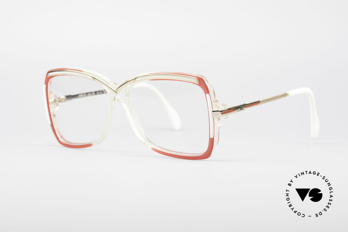 Cazal 177 80's Designer Glasses, brilliant color concept in crystal / red / gold / white, Made for Women