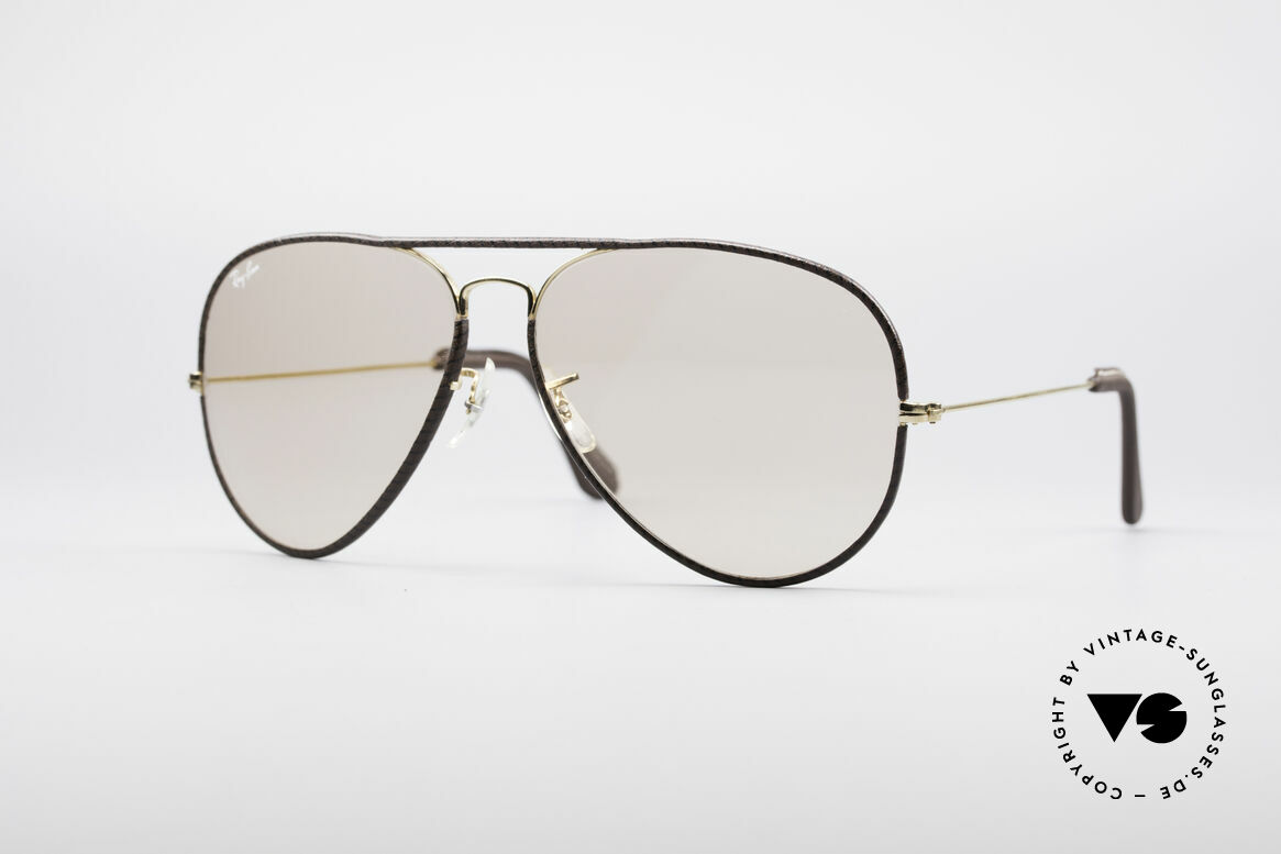 Ray Ban Large Metal II Leathers Changeable USA, classic aviator sunglasses by RAY-BAN; large size 62°14, Made for Men