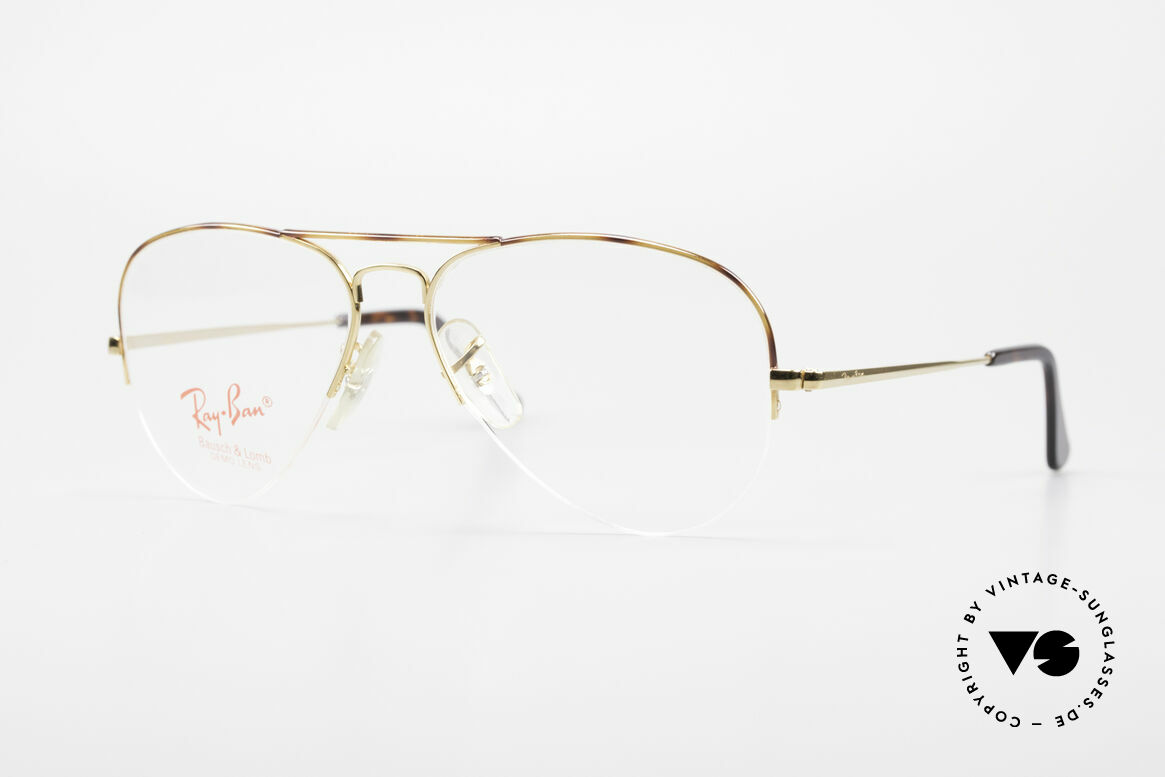 Ray Ban Aviator Half Rimless Frame Tortuga, vintage Ray-Ban eyeglass-frame of the 1980's, Made for Men and Women