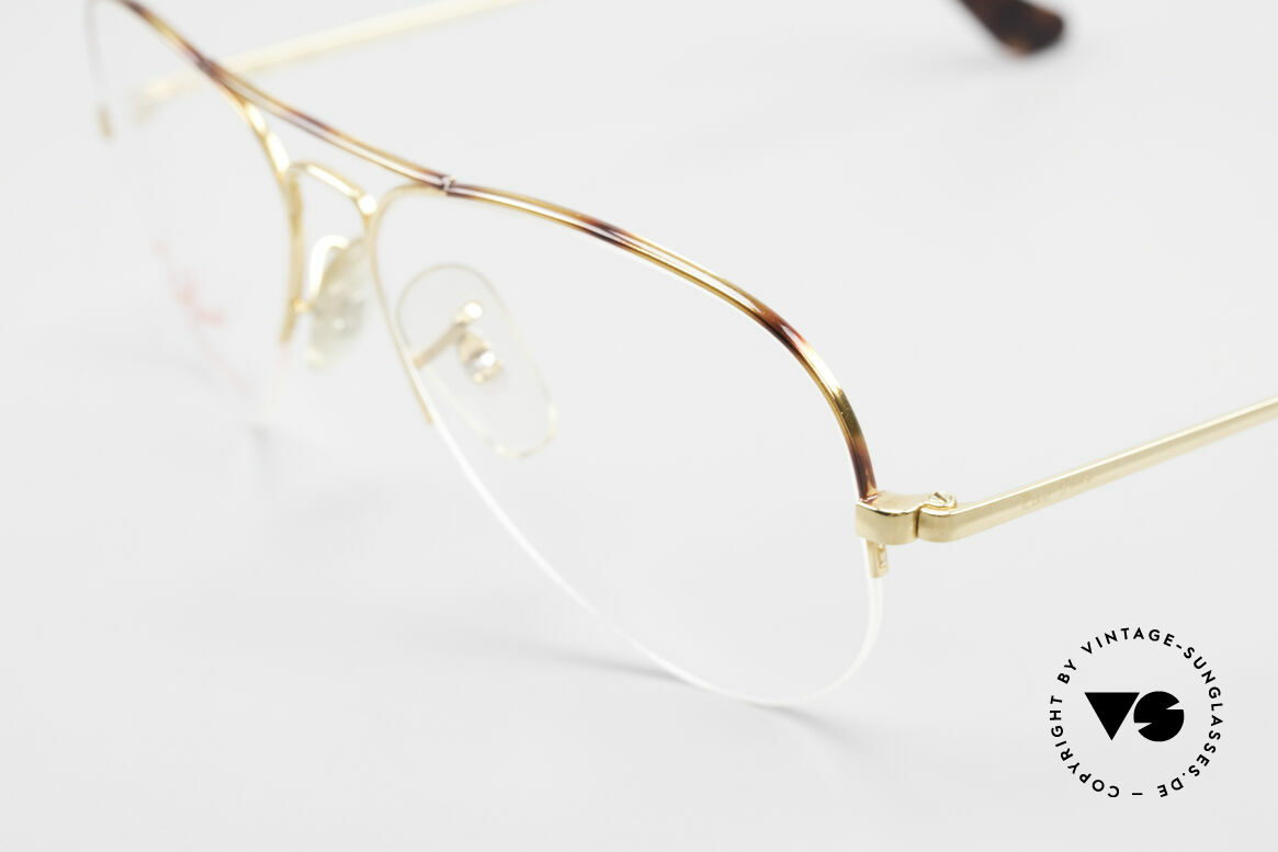 Ray Ban Aviator Half Rimless Frame Tortuga, classic aviator design in size 57-15 (medium), Made for Men and Women