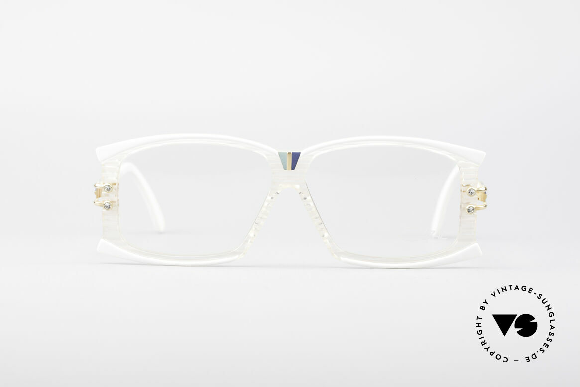 Cazal 195 80's Hip Hop Glasses, very interesting clear frame pattern with white stripes, Made for Women