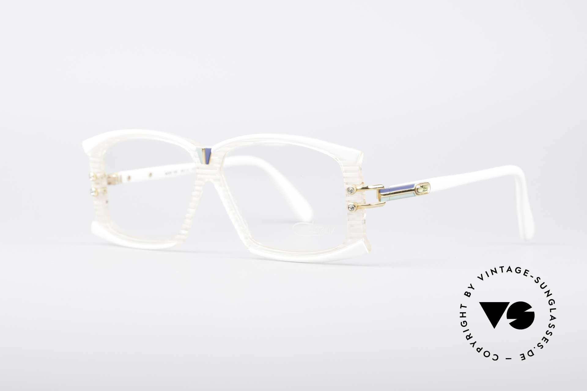 Cazal 195 80's Hip Hop Glasses, with little color accents in deep-blue / turquoise / gold, Made for Women