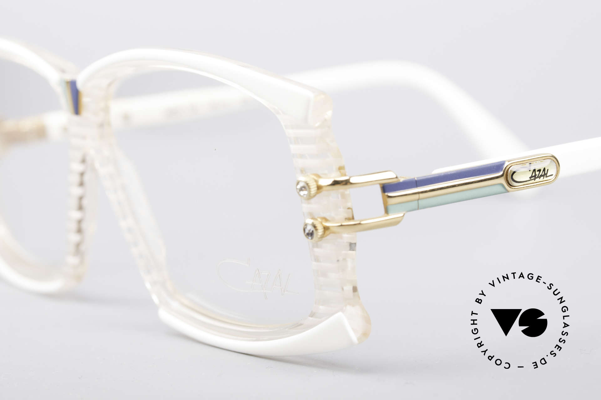 Cazal 195 80's Hip Hop Glasses, ornamental srews with rhinestone appliqué on temples, Made for Women