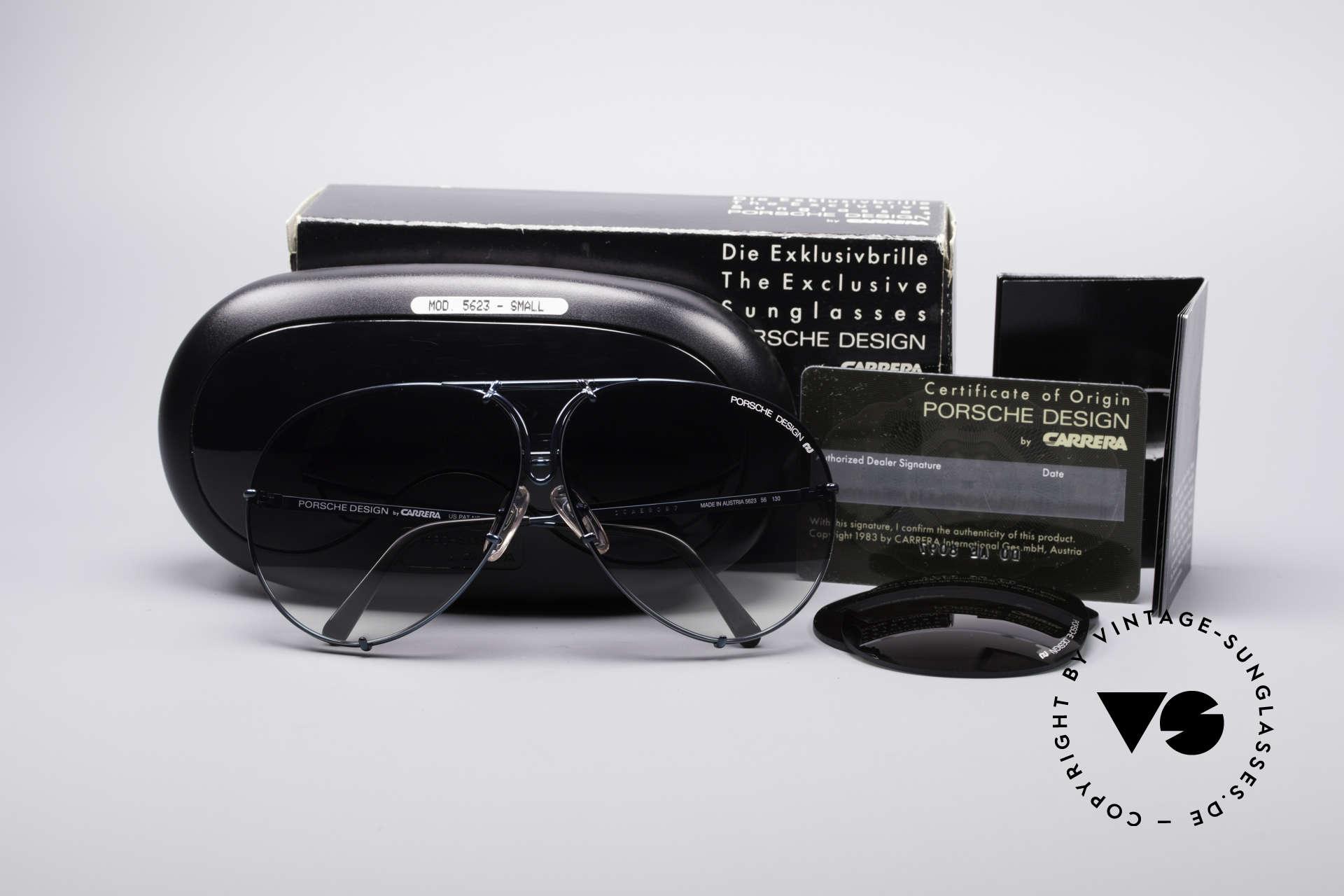Porsche 5623 80's Aviator Sunglasses, SPECIAL EDITION: rare green-metallic frame coloring, Made for Men and Women