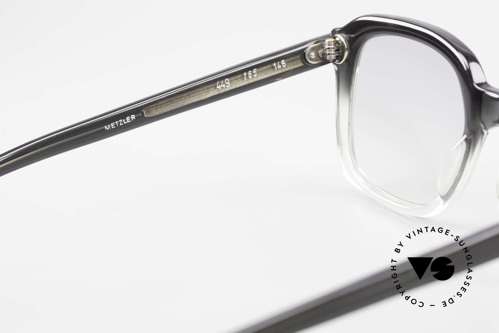 Metzler 449 1970's Original Nerd Glasses, with light gray tinted sun lenses for 100% UV protection, Made for Men