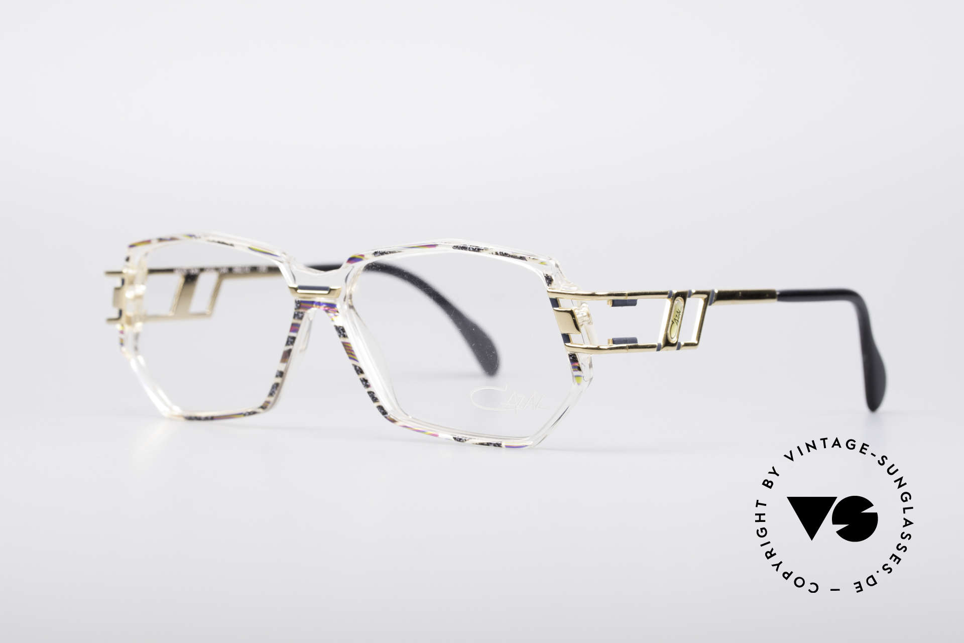Cazal 359 90's Hip Hop Eyeglasses, color description: granite-olive-fuchsia / crystal / gold, Made for Women