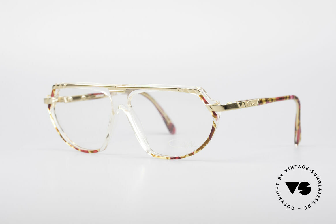 Cazal 344 Old School Crystal Glasses, decorated with colors, pattern and small appliqué, Made for Women