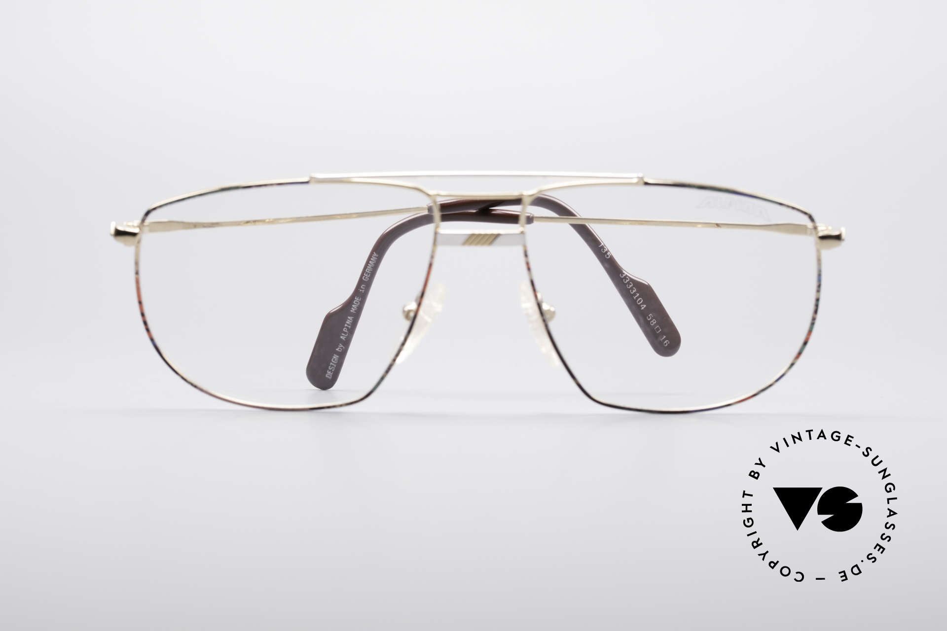Alpina FM69 90's Vintage Metal Frame, clear demo lenses can be replaced with prescriptions, Made for Men