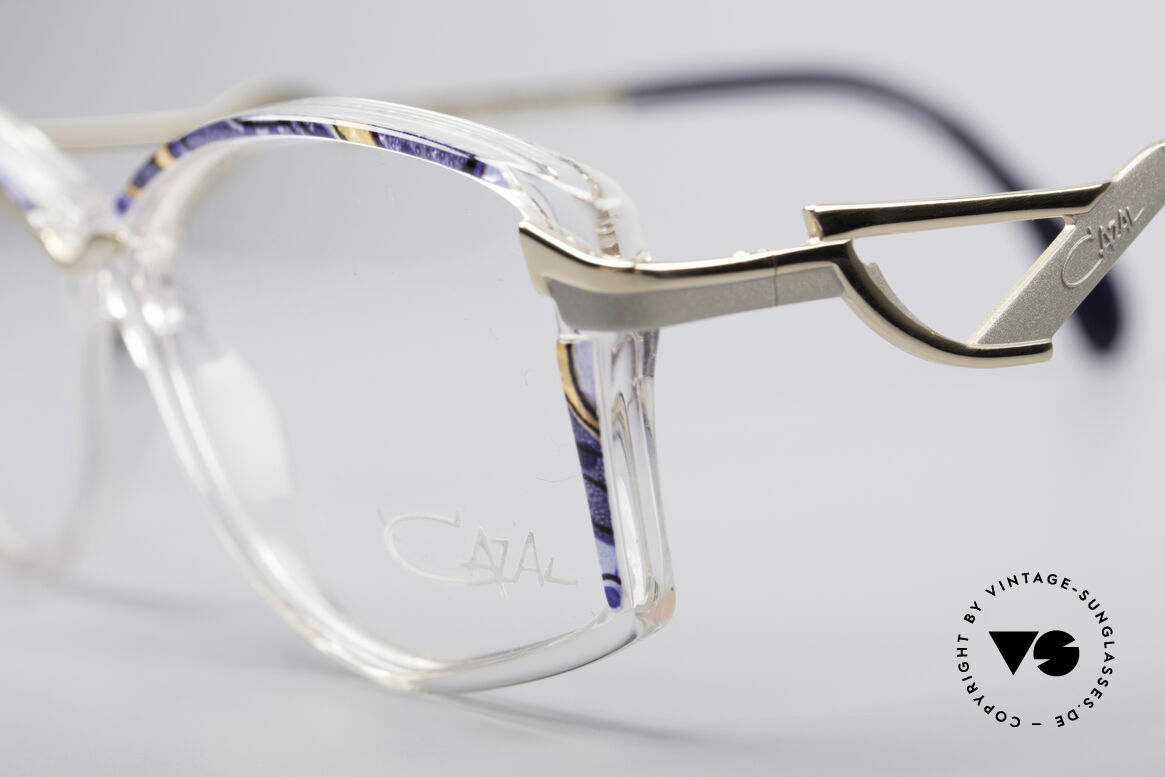 Cazal 369 90's Ladies Designer Glasses, official Cazal color 823: crystal / azure-amber / gold, Made for Women