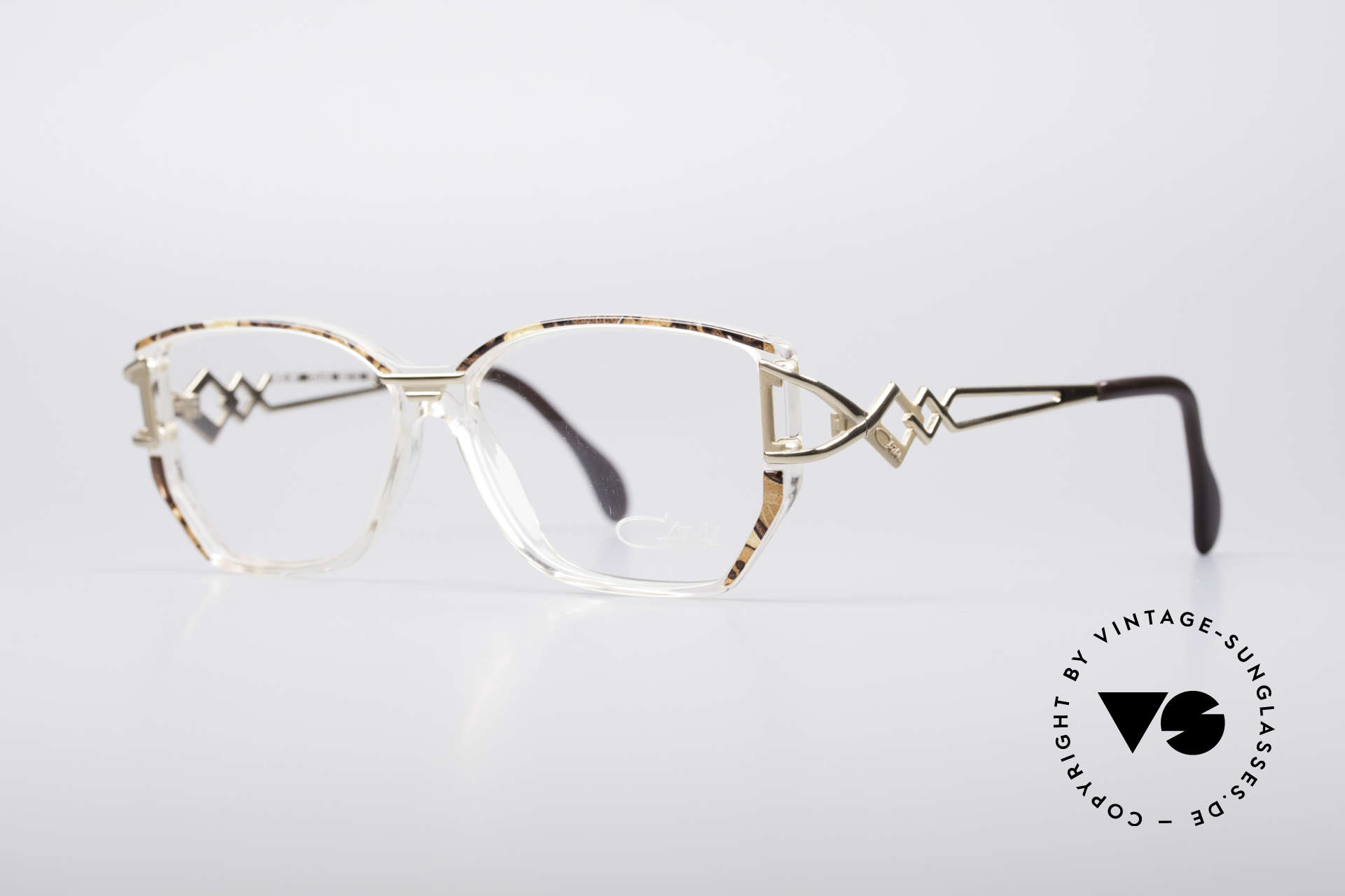 Cazal 367 90's Vintage Frame No Retro, crystal clear frame with a gold brownish pattern, Made for Women