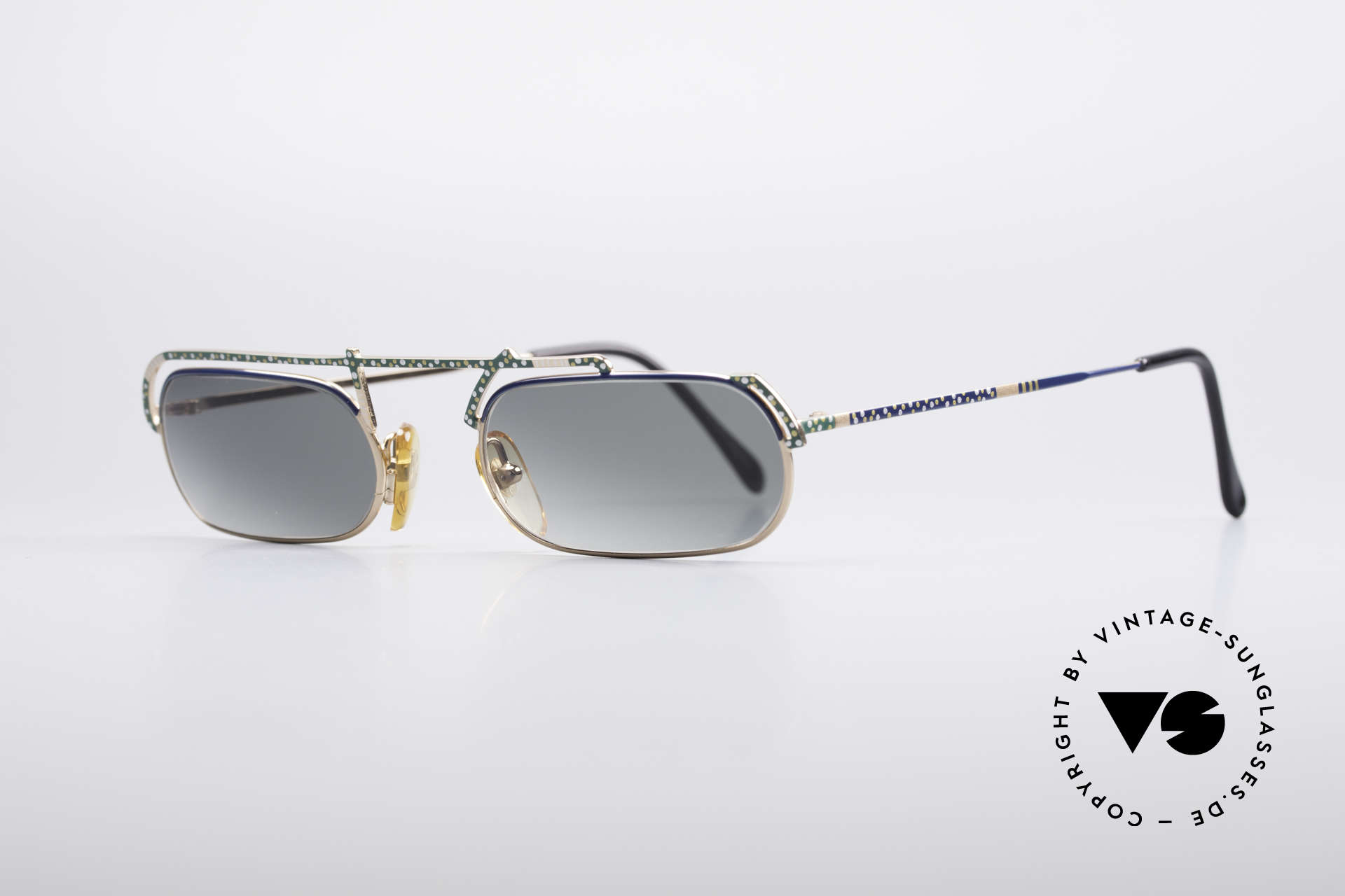 Casanova LC29 Artful 80's Sunglasses, blue-green-yellow-white dotted; a true eye-catcher, Made for Men and Women