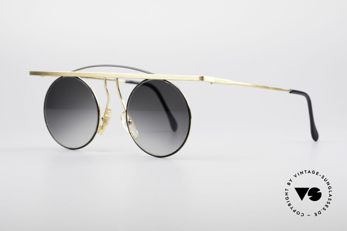 Taxi 205 by Casanova Art Sunglasses, gold-plated frame with dark gray-gradient sun lenses, Made for Women