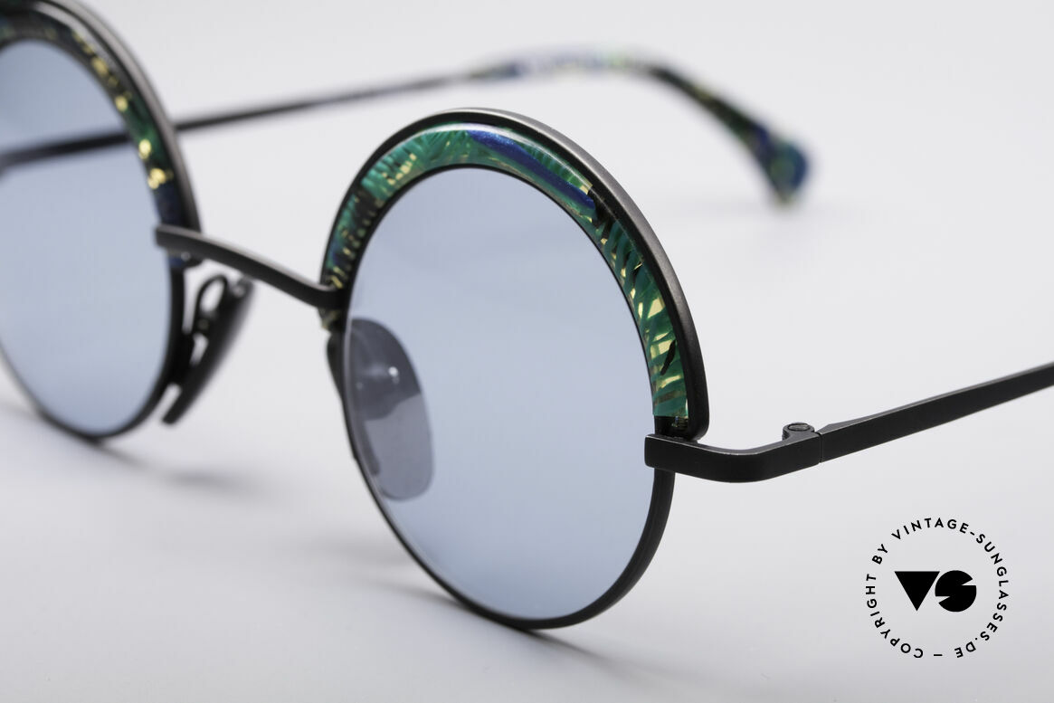 Alain Mikli 631 / 391 Round Designer Shades, clear-blue-green patterned with light blue lenses, Made for Men and Women