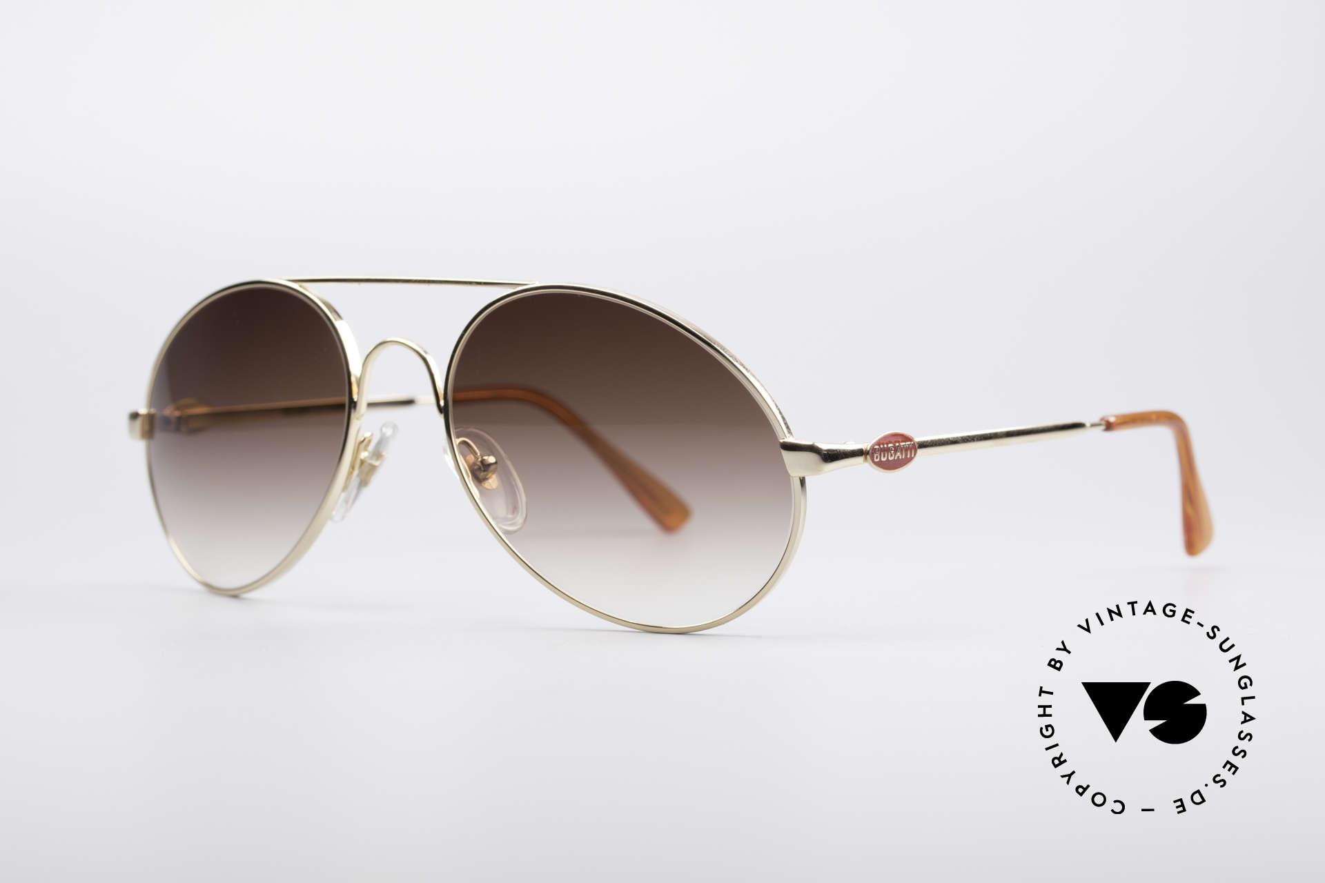 Bugatti 65986 Luxury 80's Sunglasses, gold frame & noble brown-gradient sun lenses, Made for Men