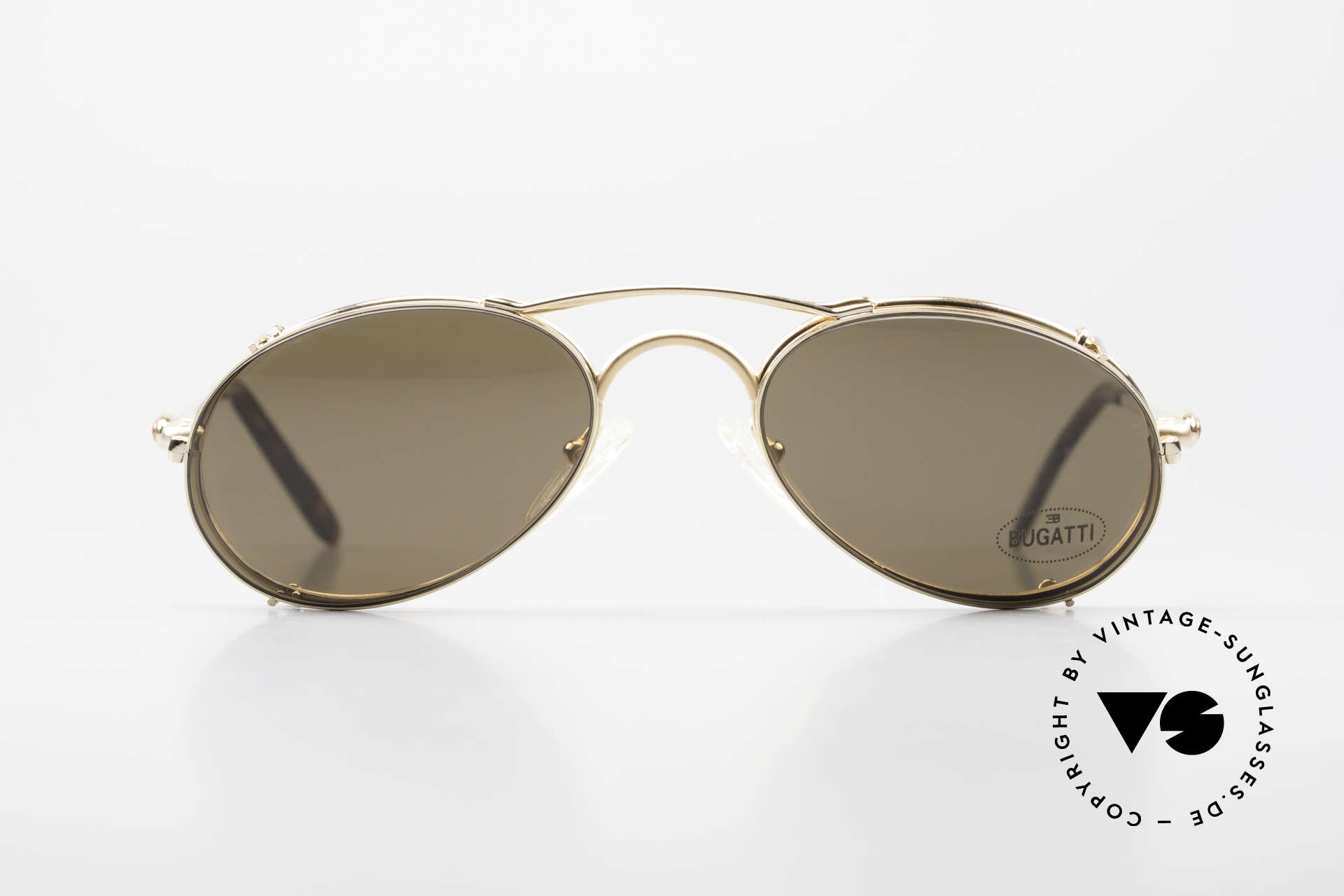 Bugatti 23407 Men's Eyeglasses With Clip On, unworn (like all our rare vintage Bugatti eyewear), Made for Men