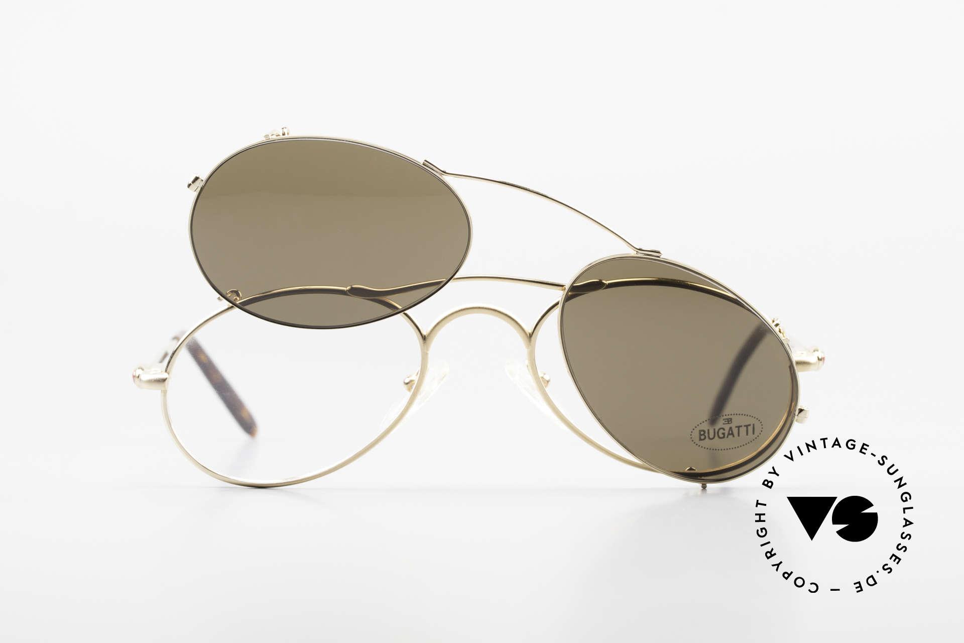 Bugatti 23407 Men's Eyeglasses With Clip On, NO RETRO glasses, but an old 90's original; vertu, Made for Men
