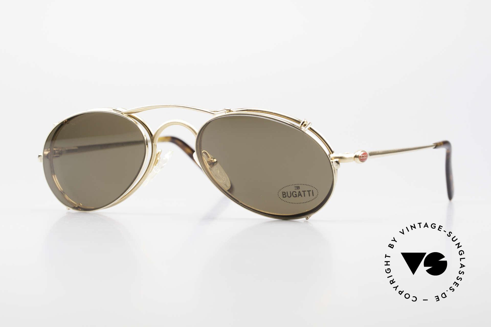 Bugatti 23407 Men's Eyeglasses With Clip On, very elegant vintage Bugatti designer eyeglasses, Made for Men