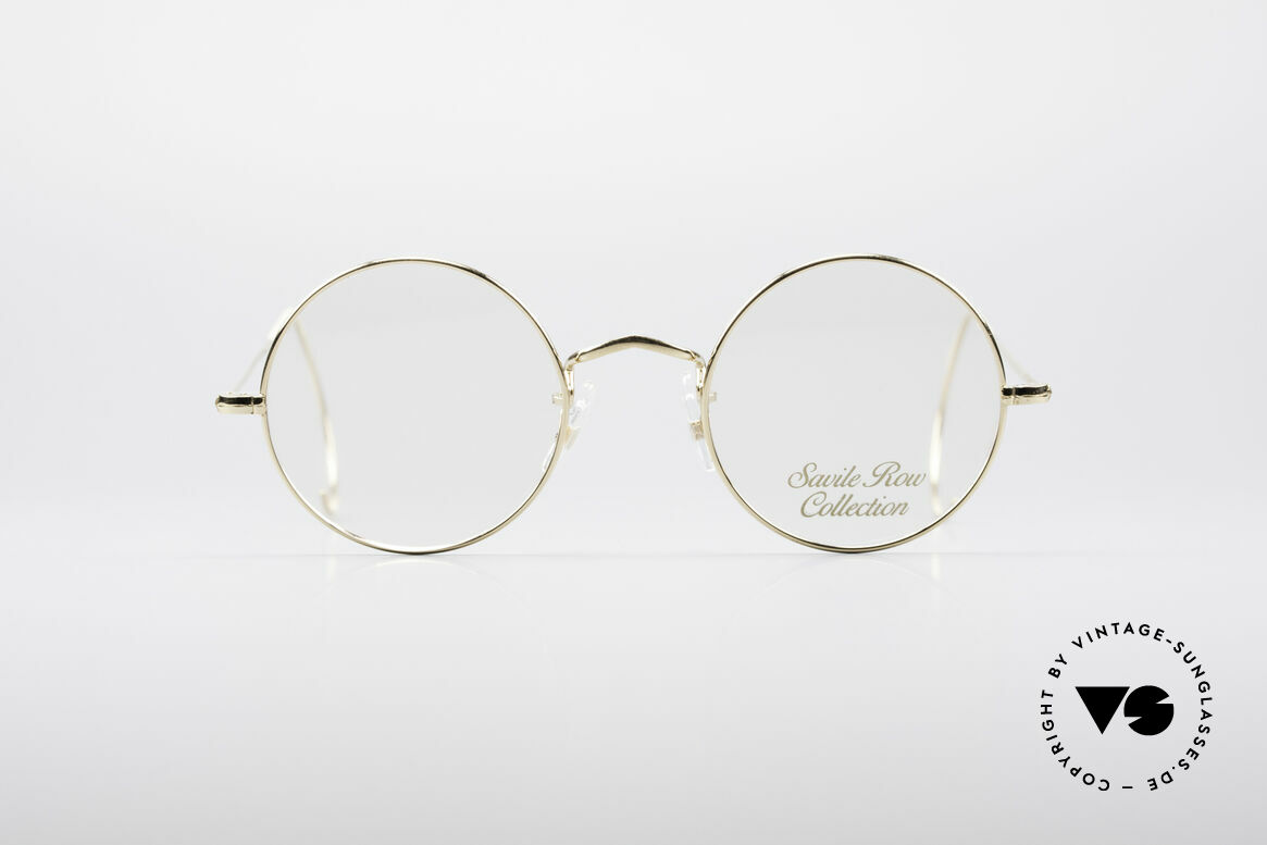 Savile Row Round 44/20 14kt Gold Frame, classic round vintage glasses from the early 80's, Made for Men and Women
