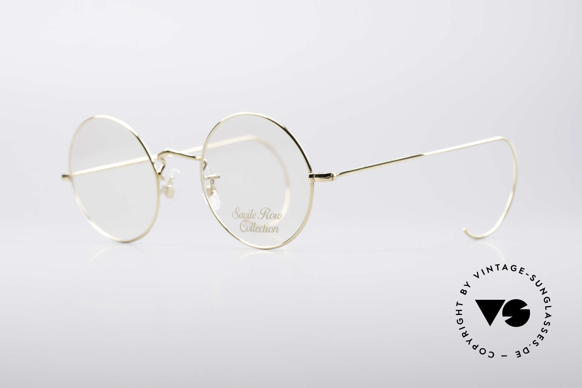 Savile Row Round 44/20 14kt Gold Frame, finest manufacturing (handmade in England, UK), Made for Men and Women