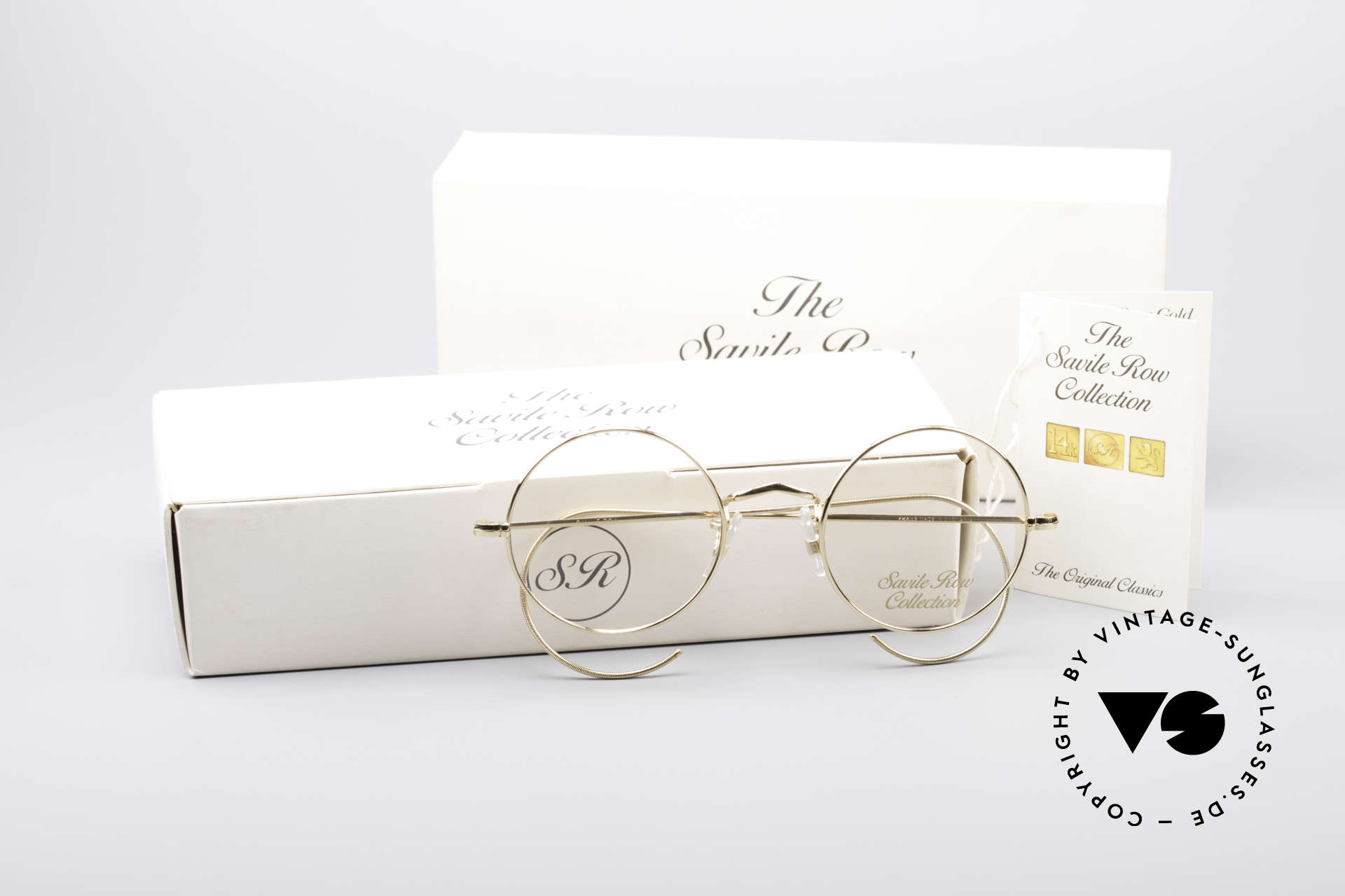 Savile Row Round 44/20 14kt Gold Frame, unworn rarity in S size 44-20 (incl. orig. packing), Made for Men and Women