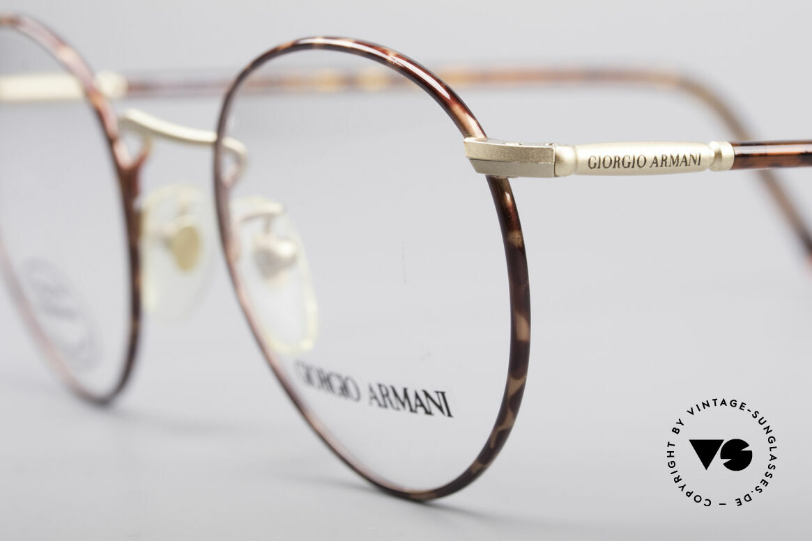 Giorgio Armani 186 Classic 90's Panto Frame, elegant color combination of chestnut brown & gold, Made for Men