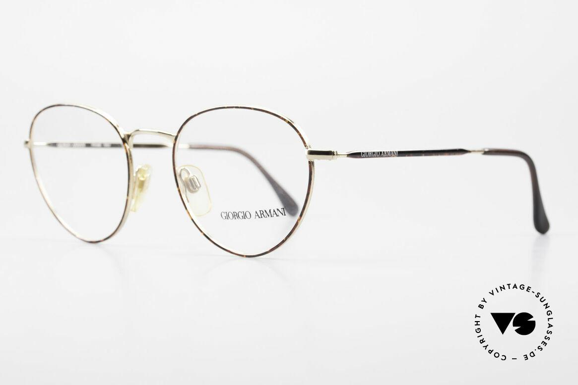 Giorgio Armani 165 Panto Vintage Glasses 80s 90s, noble 'chestnut brown/tortoise/gold' frame coloring, Made for Men