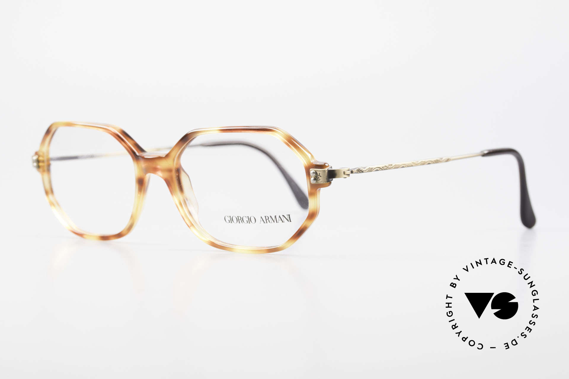 Giorgio Armani 349 No Retro Glasses Vintage Frame, amber/tortoise front with costly brass temples, Made for Men and Women