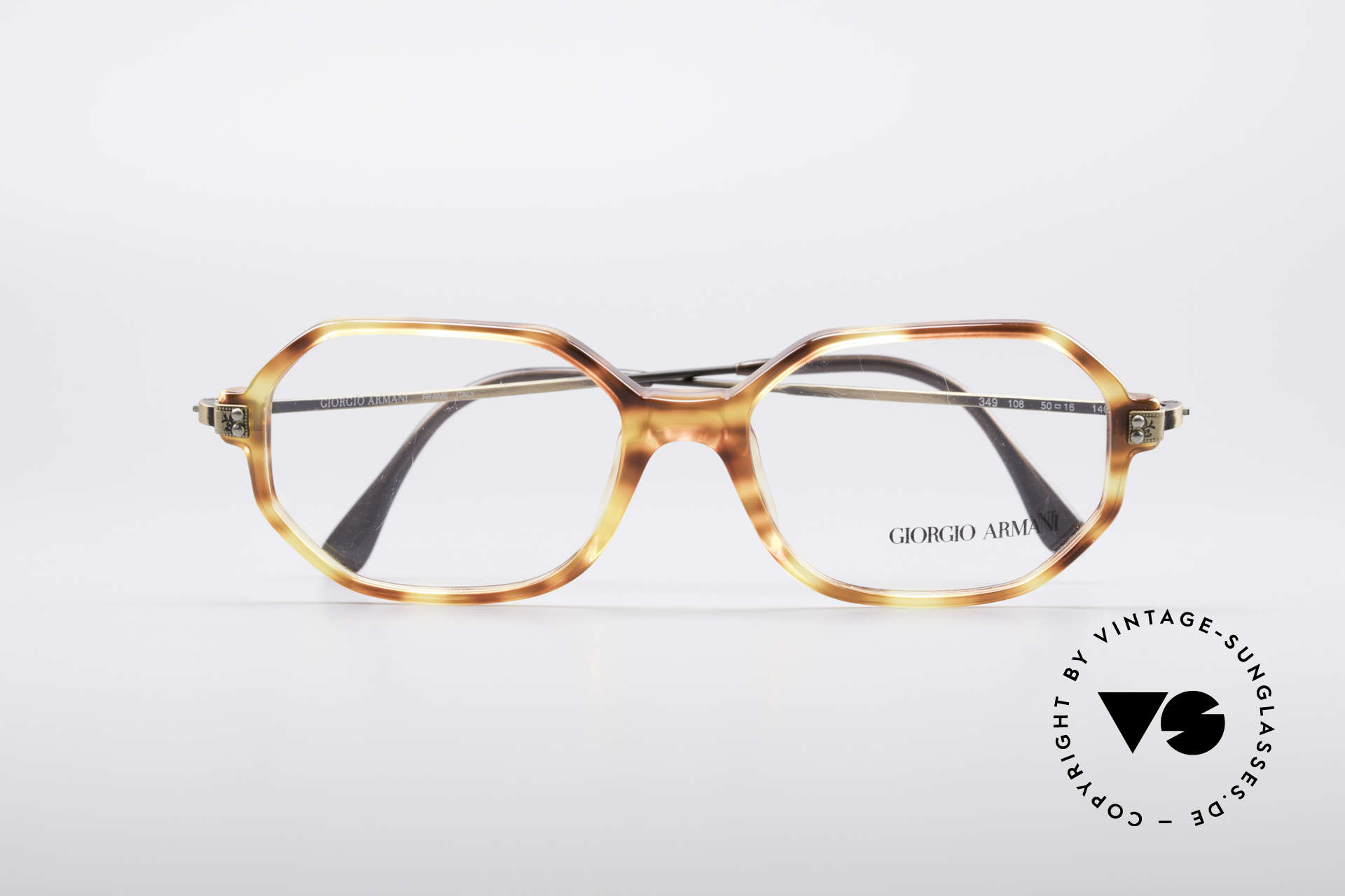 Giorgio Armani 349 No Retro Glasses Vintage Frame, the clear DEMO lenses can be glazed optionally, Made for Men and Women